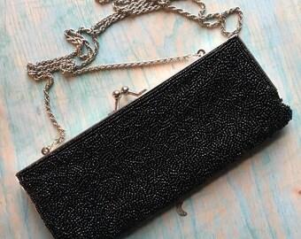 La Regale Black Beaded Evening Bag Small