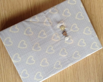 Fabric Covered Notebook in pretty heart design fabric