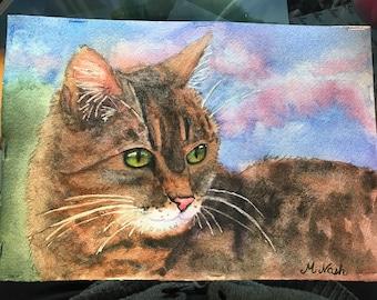 Watercolor tabby cat