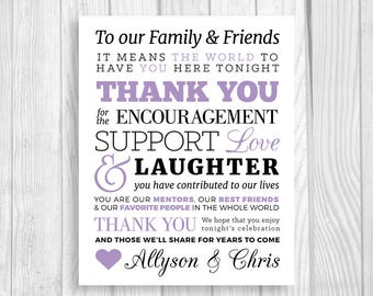 Custom Printable To Our Family and Friends 5x7, 8x10 Lavender Wedding Reception Thank You Sign - Personalized with Bride & Groom's Names