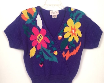 Vintage 1980s Jacklyn Smith Purple Floral Sweater