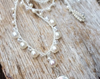 Beach Bohemian Crocheted Brides Necklace / Boho Wedding Jewelry / White Petal Keshi Pearl Necklace / Wedding Anniversary Gift / Prom Jewelry
