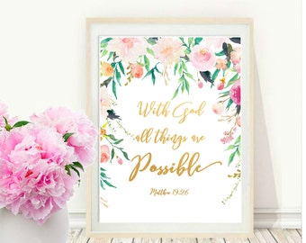 With God All Things Are Possible, Printable Bible Verse,  Matthew 19 26, Scripture Quote, Instant Download, Wall  decor, Wall Art