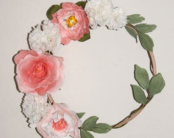 Crown 7 floral quality Italian crepe, French creation paper flowers and wood wall decor boho spirit.