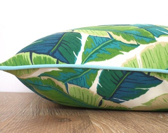Turquoise outdoor pillow cover, green outdoor cushion palm leaf print, tropical outdoor pillow case beach house decor, green leaf pillow
