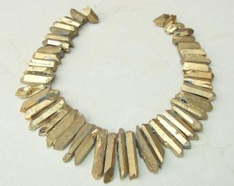 Gold, Titanium Quartz, Titanium Crystal, Titanium Quartz, Titanium Beads, Rough Quartz - Raw Quartz, Full Strand - 20mm - 49mm - 9875