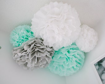 Tissue Paper Pom Poms, baby shower decoration, gender neutral baby shower decorations, bridal shower decorations, gender neutral nursery