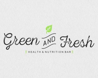 Green and Fresh logo// Nutrition Logo// Healthy logo// Food blog logo// Green Logo