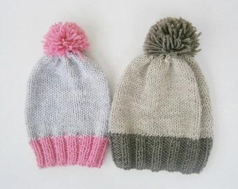 Set of 2 girls knit hat girls hats boys knit hat knit hat pompom hat pompom knit hat slouchy hat girls hats toddler knit hats Custom Colors