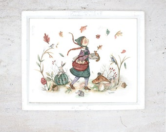 Print Anne of Green Gables | Illustration Art Giclee Print | Poster | Fall October | Autumn leaves Mushrooms  | Literature  Anne Montgomery