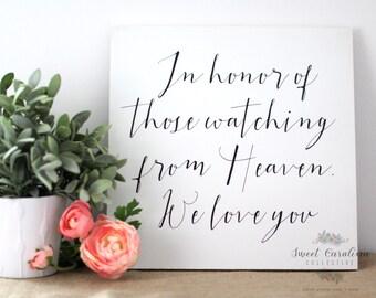 In Loving Memory Wedding Sign / Wedding Memorial Sign - WS-237