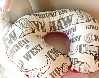 Cowboy Nursing Pillow Cover, Western Nursing Pillow Covers, Cowboy with Red Minky