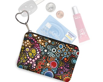 Small Zippered Pouch Coin Purse Keychain Business Card Holder Key Fob  fabric pouch colorful dots bubbles jewel tone colors RTS