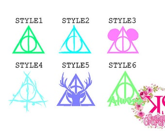 Deathly Hallows Decal,always decal, minnie decal, Harry Potter Decal, Cute Harry Potter Car Decal, Cup Decal, Deathly Hallows, Harry Potter