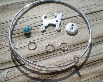 Dog Charm Bangle Set Kit, Adjustable, Do It Yourself, Dog Theme, Bangle Bracelet Supplies