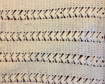 White Baby Afghan Crochet Lap Blanket