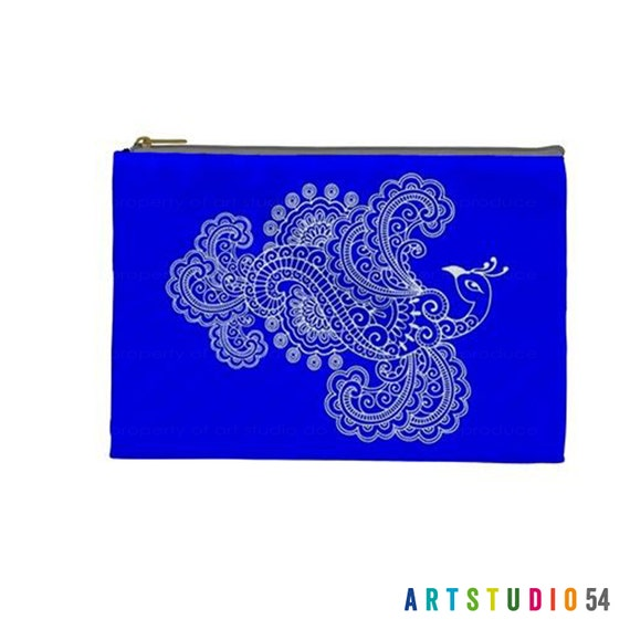 """Henna Mehndi Peacock Blue White Pattern on a Pouch, Make Up, Cosmetic Case Travel Bag Pencil Case- 9"""" X 6"""" -  Large -  Made by artstudio54"""
