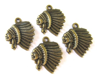 18 Bronze indian chief charm,  native  American charms,diy jewelry, metal charms, Indian head cowgirl jewelry 22mm x 19mm Bus13103(SR6-6),