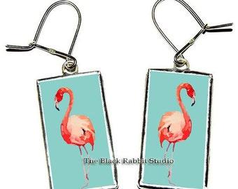Flamingo earrings, Flamingo jewelry, Bird earrings, Pink flamingo gift, Summer earrings, Animal earrings, Florida earrings