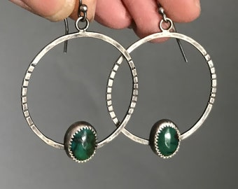 Green Turquoise Hoop Earrings, Hammered Silver Hoops, Sterling Hoops, Turquoise Boho Earrings, Ready to Ship