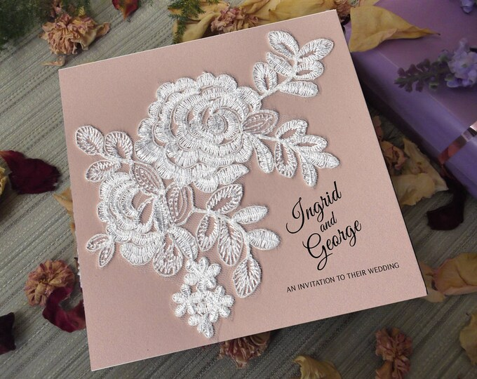 Blush & Ivory Lace 25 Card Wedding Invitation Package with RSVP's  Matching Envelopes and Wishing Wells.  Real Ivory Lace Motifs.