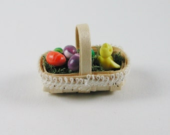 Easter basket with chicks, colourful eggs in miniature, for the doll house at a scale of 1:12