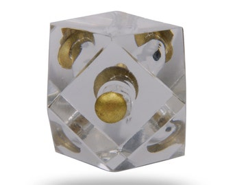 Cut Glass Deluxe Square Knob with Antique Finish, Clear Decorative Door Knob for a Dresser Drawer, Kitchen Cabinet, Bureau or Cupboard Door