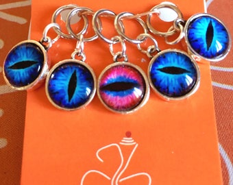Tiger / dragon eye / evil eye Stitch Markers for knitting - Set of 5 - charms