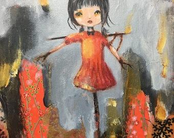 "Her Big Debut 8""x 10"" Original ART - Jen Herling, scare crow, whimsical art, portrait, bird, crow, animal art"