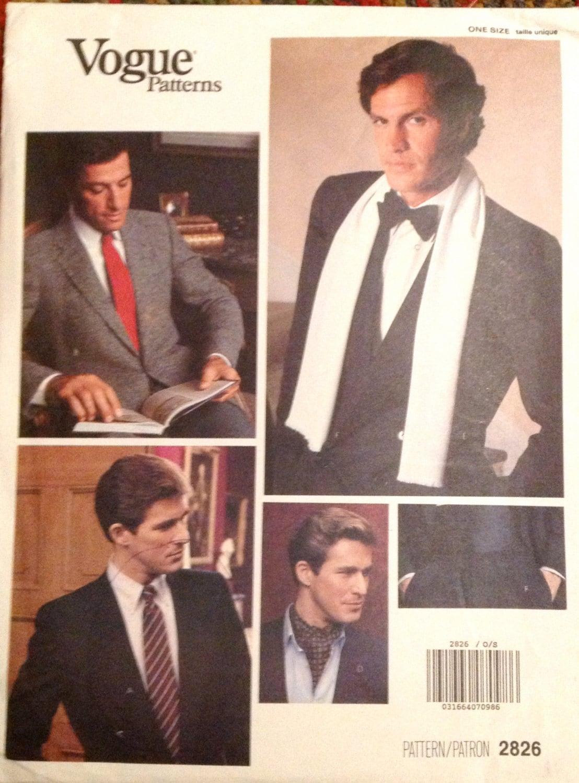 1980er Jahre Vogue 2826 Mens Smoking Kummerbund Fliege und