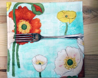Floral Cloth Dinner Napkins Reversible Orange White Yellow Poppies in the Sky Eco Friendly Cotton Sustainable, Reversible, Double Sided
