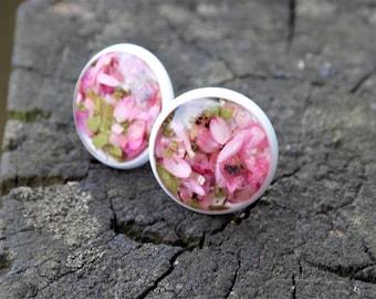 Real flower stud earrings, post earrings, flower jewelry, terrarium, white, circle earrings, resin, nature, terrarium, women accessory, gift