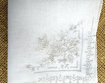 White wedding handkerchief embroidered with flowers and butterflies, white hankie, vintage handkerchief, ladies hankie, Bridal handkerchief