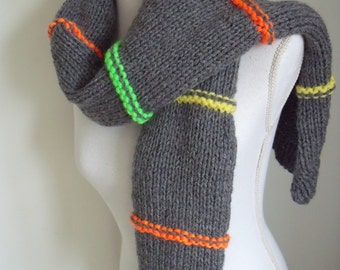 Grey Scarf (150/30 cm) with neon ridges in orange, yellow and green