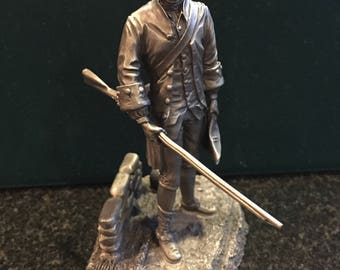 The Franklin Mint Pewter Fig Militiaman Minot's Alarm Co. Of Concord Massachusetts