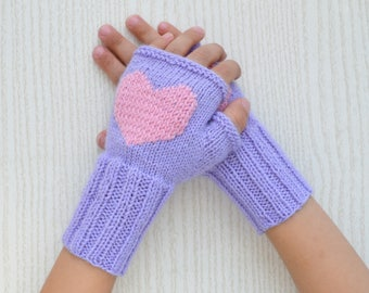 Purple Wool Fingerless Gloves for girl with pink heart/Arm Warmers for kid/Mitten with embroidery/Wool/Children's Fingerless Glove/Knitted
