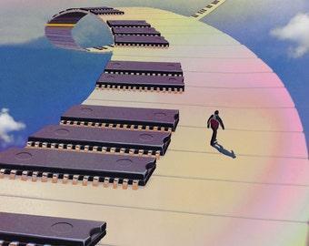 Technicolor Dreamworld - Collage psychédélique Surreali oeuvre Unique Collage sur papier originale mixte coloré Fine Art Print psy