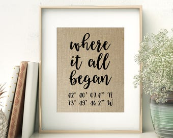 Where It All Began   GPS Coordinates Gift   Where We Met Location Burlap Print   Bridal Shower Wedding Gift for Couple