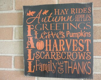 """FALL PRiMitiVE WOOD  Sign/ Fall Decor, Halloween Decor, Thanksgiving Decor, Country, Rustic Sign,DAWNSPAINTING, 12"""" x 12"""""""