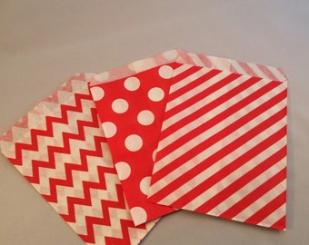 20+ Carnival Paper Candy Bags: Carnival Party Bags, Red Paper Candy Bags, Red Favor Bags, Dessert Table Bags, Goody Bags, Circus Paper Bags