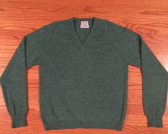 Vintage 1940s/1950s PENNEY'S Knit Wool V-Neck Sweater ~ size M ~ Varsity ~ niWzjbEys