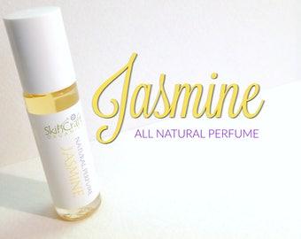 Jasmine  Perfume - Natural Roll On Perfume Oil  -  Jasmine Sambac Essential Oil & Natural Fragrance Perfume -  -  .3 oz Glass Roll On Bottle