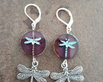 """Dragonfly"" Preciosa Czech glass earring"