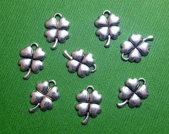 10 or 20 pieces- Cute 4 Leaf Clover Dangle Charm Pendants Luck of the Irish Jewelry Green Pride