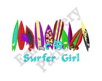 Surfer Girl - Machine Embroidery Design - 4 X 4 Hoop, Sayings, Summer, Beach, Vacation, Tropical, Surfboard, Water Sport