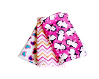 Newborn baby gift, 3 baby burp cloths, infant burp cloths, flannel burp cloths, terry burp cloths, pink burp cloths, penguin baby gift