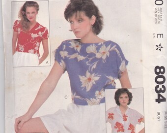 McCalls 8034 CLEARANCE Vintage Pattern Womens Button Up or Pull Over Top Size 8 UNCUT