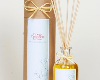 Natural Diffuser - Orange, Cedarwood & Clove | Reed diffuser with 100% pure Essential Oils | Diffuser Oils | Kitchen Diffuser | Gift