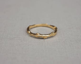 Solid Gold Hawthorn Twig Infinity Ring