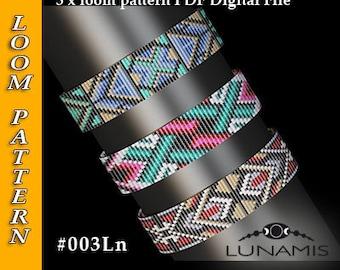 loom bracelet pattern, loom pattern, loom stitch, square stitch pattern, beading pattern, pdf file, pdf pattern, cuff, #003Ln